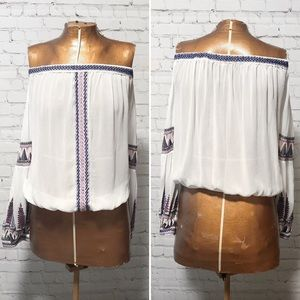 Free People Off Shoulder Peasant Blouse EUC